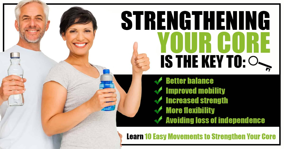 Promotional Blog Graphic for 10 Easy Movements to Strengthen Your Core