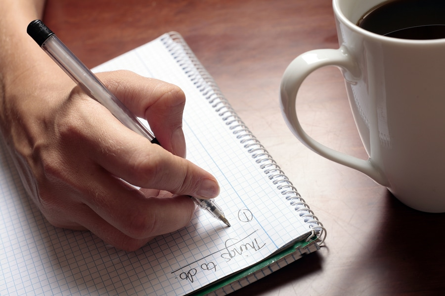 write things down to get organized
