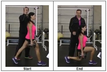 Side view Stationary Dumbbell Lunge