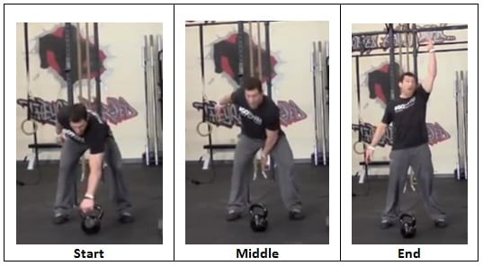 Single Arm Snatch with Kettlebell (front view)