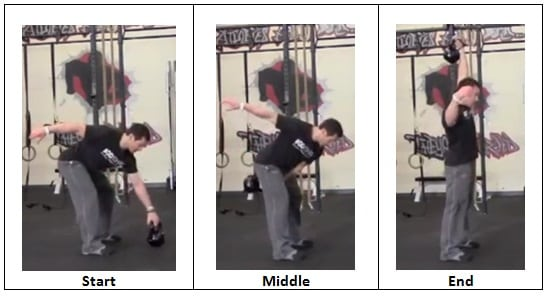 Single Arm Snatch with Kettlebell (side view)