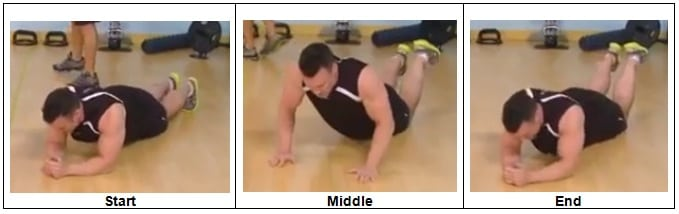 Elbows to Hands Push Up (drop to your knees)
