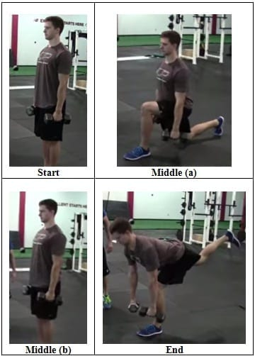 Dumbbell Reverse Lunge to 1 Leg RDL