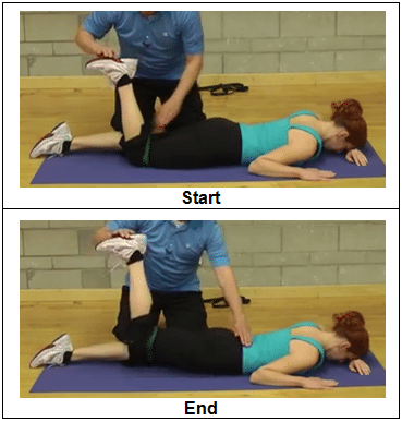 Prone Hip Extension with Resistive Band -progression