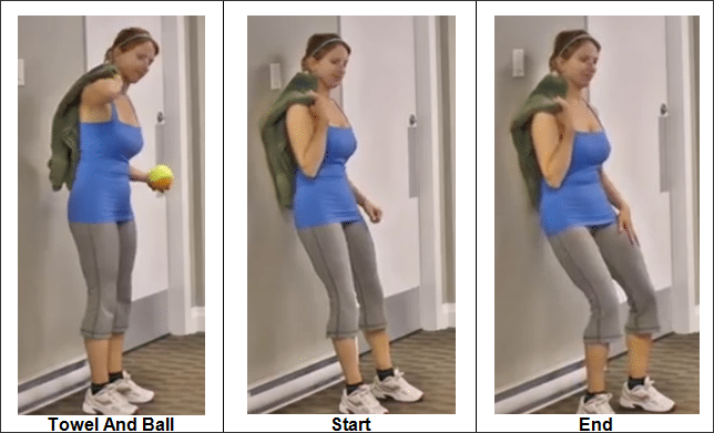 Rolling the Back With a Small Ball and Towel Against the Wall