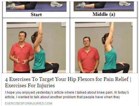 Here are four different exercises that target your hip flexors in order to decrease the pain in them, loosen them up, and stretch them out. Check this!