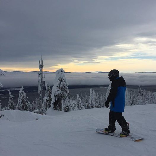 Cole snowboarding at big white