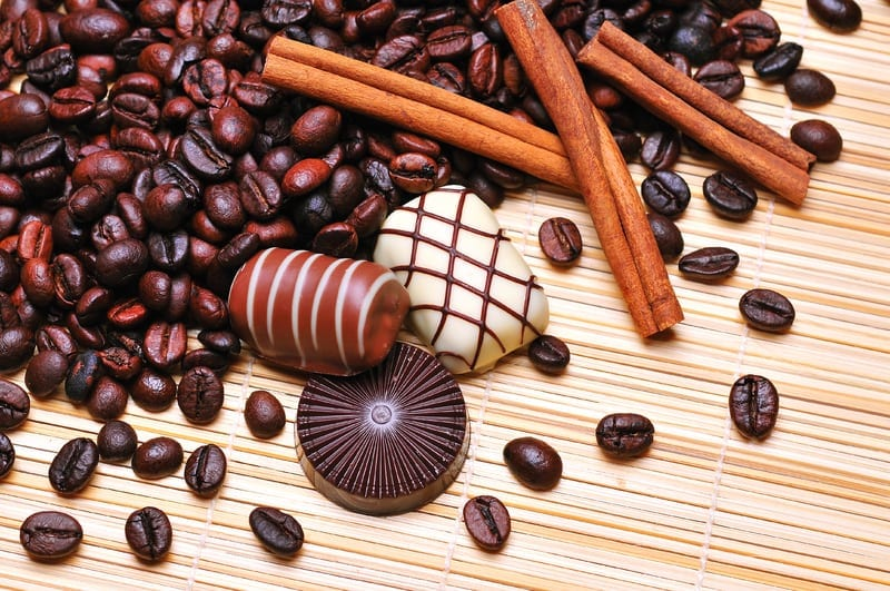 cocoa beans and chocolates