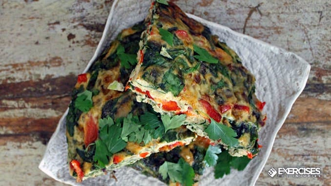 Oven Baked Spinach and Red Bell Pepper Frittata