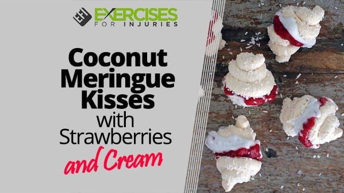 Coconut Meringue Kisses with Strawberries and Cream