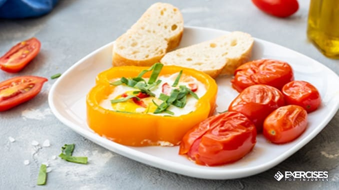 baked pepper rings with chili eggs
