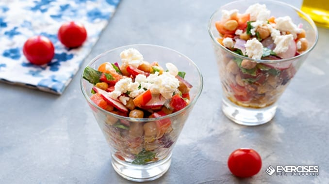 chickpea and veggie salad in a jar