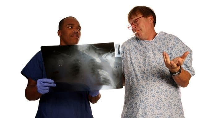 A doctor and patient discuss a mans continuing to smoke cigarett