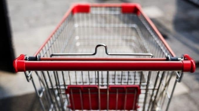red-and-silver-grocery-cart