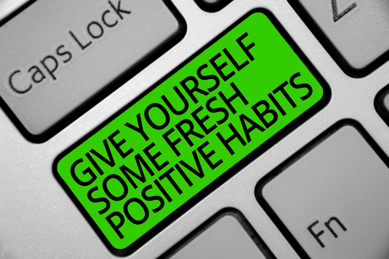 Handwriting text Give Yourself Some Fresh Positive Habits. Concept meaning Get healthy positive routines Keyboard green key Intention create computer computing reflection document.