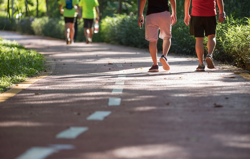 Mid aged people walking at sunny park trail for morning exercise and weight loss