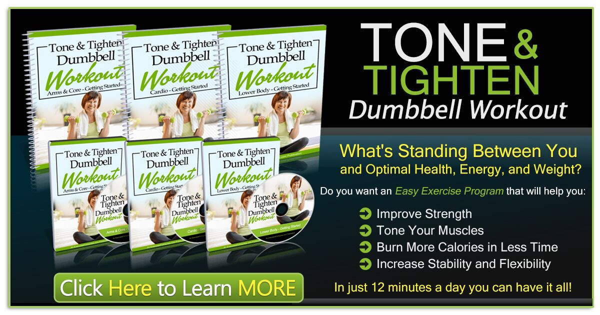 Promotional Blog Graphic for Tone & Tighten Dumbbell Workout