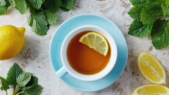 Lemon balm tea with honey
