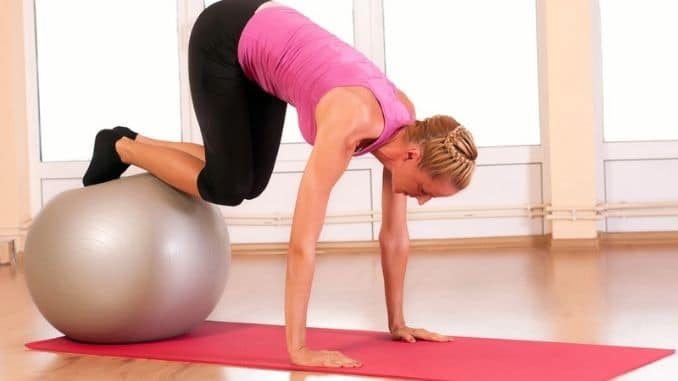 fitness exercise with fit ball